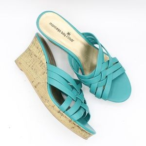 Montego Bay Club Blue Strappy Wedge Sandals 8.5